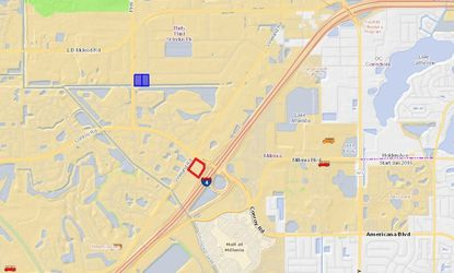 Highlighted in blue are 5 acres in the 33rd Street Industrial Park that an AutoNation affiliate owns, with plans to develop as a branded collision center. Outlined in red is the nearest affiliate dealership, Audi South Orlando.