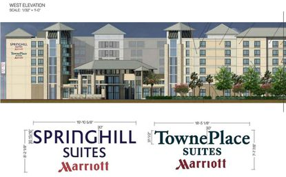 The front elevation design of a dual-brand hotel planned for Palm Parkway and Lake Avenue, located south of Lake Ruby.