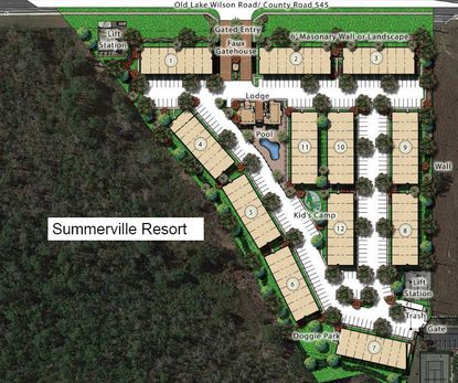 A developer's site plan for Summerville Resort townhouse project in Osceola County.