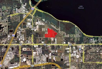 Highlighted in red are the 67.6 acres along Narcissus Avenue near Sanford's Lake Monroe, planned for the NorthPort Industrial Park.