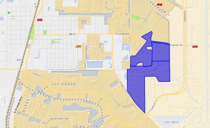 Highlighted in blue is the 231 acres the Mulvaney brothers own west of Orlando International Airport. The latest parcel acquired this month is 54 acres, set in the upper left of the trio.