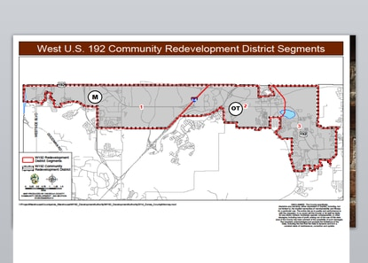 Osceola County's W192 Development Authority votes Wednesday on a plan to divide the district into eight zones and prioritize spending among them. The Margaritaville area (M) and the Old Town district (OT) are contenders for capital investement.