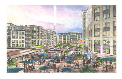 Conceptual rendering of Equinox Development's plan to redevelop the Altamonte Springs City Hall and municipal complex property. This image looks south to north, with a hotel on the right, multifamily on left and city office at the far end.