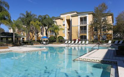 A view of the pool area at the Indigo West apartments in MetroWest.