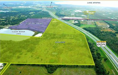 (Looking south) Highlighted in green is the approximately 126 acres assembled for the Avian Pointe master-planned community in Apopka, northeast of S.R. 429 and Lust Road.
