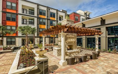 A view of the interior courtyard and fire pit at EOS Orlando apartments near UCF, which was developed by Catalyst Development Partners and will be a model for the company's new multifamily project.