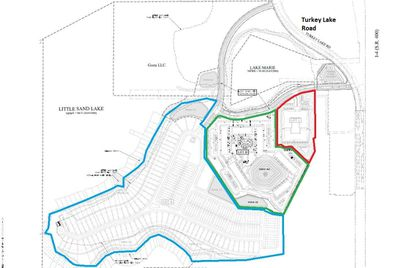 Outlined in red is the property planned for senior housing, in green is the Class A apartments, and in blue the single-family homes and townhomes, all of which encompass about 85 developable acres off of Turkey Lake Road in Dr. Phillips.