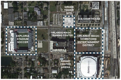 The proposed mixed-use tower would be build across from the Orlando Magic's AdventHealth Training Center, which is under construction.