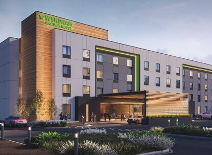This is the prototype for a 4-story Wyndham Garden hotel. Developer Thirumala Properties may have to tweak the design to comply with the city's height limit.