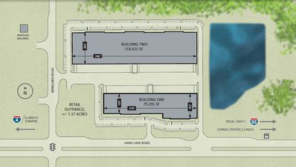 A marketing site plan of the proposed Sand Lake Commerce Center industrial buildings, located on E. Sand Lake Road, a mile east of the Florida Mall.