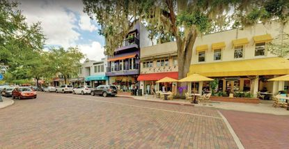 A partial view of the two-story retail building at 290 N. Park Ave. in downtown Winter Park.