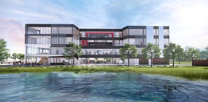 Orlando's Lake Highland Preparatory School will demolish two existing classroom buildings on the campus and build this new Center for Innovation and Academics.