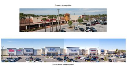 A before-and-after view of the Center of Winter Park on N. Orlando Avenue, a 244,984-square-foot retail shopping center acquired by Sterling Organization in 2013 and redeveloped in the years that followed.