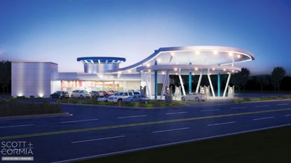 A rendering of how the new fuel stations by The Guess Corporation could look.