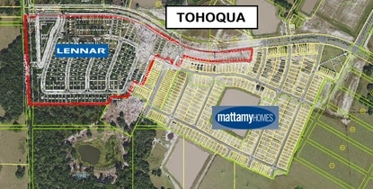 Lennar Homes paid $10 million to buy Phase 2 of the Tohoqua master-planned community. Mattamy Homes was the exclusive builder in Phase 1.