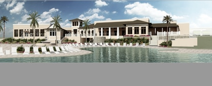 This architect's rendering shows the view of the clubhouse from the resort's pool deck. Solara at Westside is Mattamy Homes' first vacation home resort.