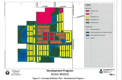 St. Cloud's City Council will consider a voluntary annexation Thursday for 276 acres on the west side of Old Hickory Tree Road. The areas shown in pink are designated for a K-8 school and fire station. The yellow and orange represent residential development, while the blocks in red are slated for commercial development.