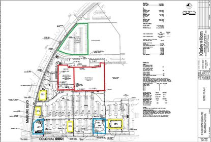 This site plan of the 17.98 acres Seritage owns at Orlando Fashion Square shows the planned Floor & Decor store and Orchard Supply Hardware (red), two outparcels committed to Darden Restaurants (blue), four outparcels for lease (yellow) and a Phase 2 multifamily site (green).
