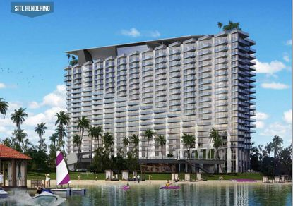 An updated rendering of the former 20-story hotel proposed by Azzurra Development on Lake Bryan, this time with the former flag branding removed from the design.