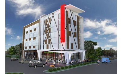 A conceptual rendering of a proposed seven-story Best Western Vīb hotel for property on Visitors Circle, near the intersection of International Drive and Universal Boulevard.