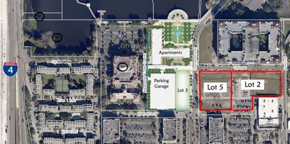 Lot 2 was recently acquired by Cranes Roost LLC, which owns Lot 5. Together the vacant properties total about 3.7 acres and neighbor a proposed mixed-use development that will include a high-rise apartment building.