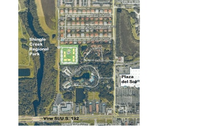 This site plan shows four apartment buildings, plus a separate pool and clubhouse, for a total of 96 units.