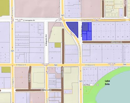 Highlighted in blue are the six parcels totaling 1.4 acres proposed as an assemblage for development of a 13-story multifamily tower in Downtown Orlando, at the corner of N. Rosalind Avenue and Livingston Street.