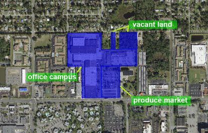 The roughly 27-acre property includes a three-building office campus, about 3 acres of vacant land with multifamily usage and a 5-acre parcel with a small 3,320-square-foot retail building.