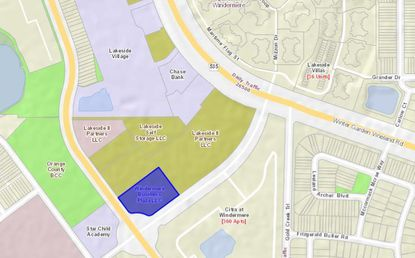 Highlighted in blue is the two-acre parcel owned by Dr. Niral Patel, to be developed into professional and medical offices. The green-shaded property to its north is the remainder of Lakeside Village Phase 2 now in varied stages of development.