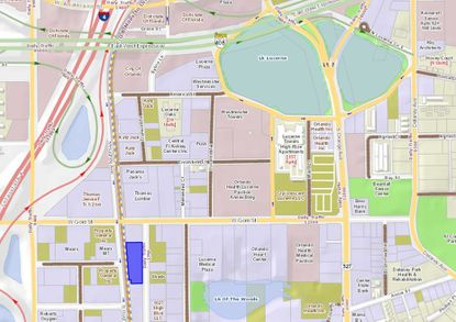 Highlighted in blue is the 1-acre parcel in Downtown Orlando's SoDo District being considered by Cedarwood Development for a new self storage facility.