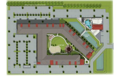Marketing site plan for the student apartments complex planned near Seminole State College in Sanford.