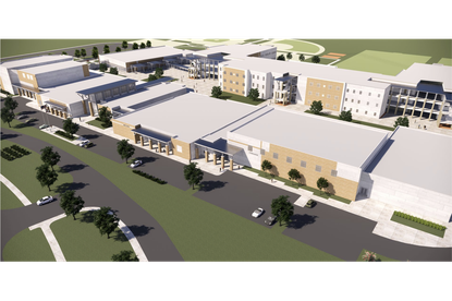 A rendering of the relief high school (113-H-W-4) under construction at 10393 Seidel Road.