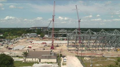 A snapshot of the live video feed on Tuesday of construction work on Orlando City Soccer Club's new downtown stadium.