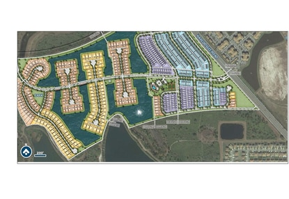 Pulte Homes paid $12 million for land just off Narcoossee Road in the Poitras master-planned community. Pulte will builda 500-unit gated community with townhomes (blue), bungalows (purple) and single-family detached homes.