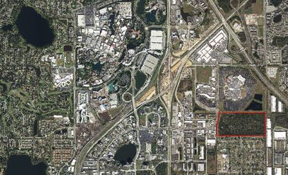 Outlined in red is the 77-acre property on N. International Drive, directly south of the former Artegon Marketplace and the intersection with Oak Ridge Road.