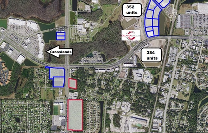 The parcels outlined in blue are owned by Tupperware and part of a joint venture development agreement with O'Connor Capital Partners. The same developer has a purchase contract on the two parcels outlined in red and is seeking to rezone them for more commercial and multifamily use.