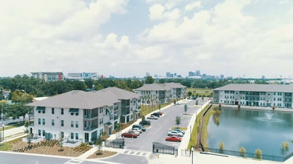 Partial aerial view of the Phase 1 apartments at Pendana at West Lakes on Orange Center Boulevard, southwest of Camping World Stadium.