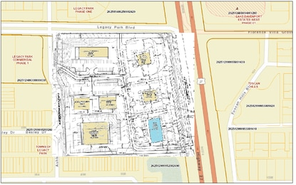 A New York-based developer is seeking commercial entitlements for 10 acres at the corner of U.S. 27 and Legacy Park Boulevard in Davenport. Phase 1 would be a retail strip center, shown in blue.