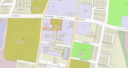 The parcel highlighted in red is the undeveloped 1.06 acres that have plans ready for 10 townhomes by Anchor Development Group. The small subdivided parcels directly to the south are townhomes already built by Anchor.