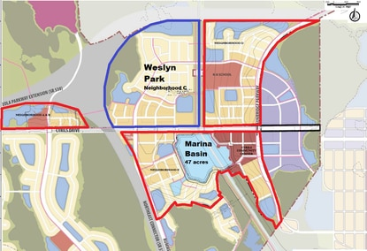 Tavistock Development has applied for a permit to excavate the 47-acre marina basin, the centerpiece of its Sunbridge community, and mass grading for over 400 acres outlined in red. The first neighborhood will be Weslyn Park, outlined in blue.