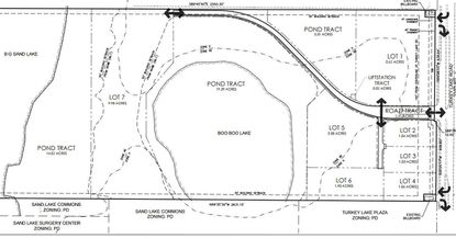 The new subdivision plan for 64.53 acres located at 9200 Turkey Lake Road, just a few hundred yards north of Westgate Lakes Resort. The property features about 46 developable acres.