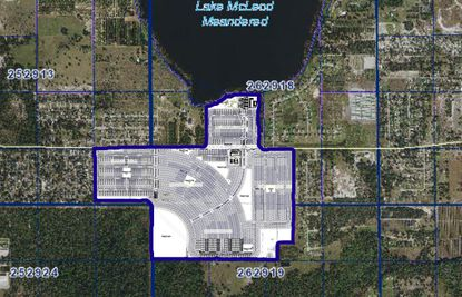 An aerial view of the proposed 1,160-lot residential subdivision called Ranches at Lake McLeod.