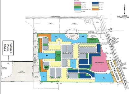 The Rubin Groves conceptual plan calls for a mix of 1,200 residential or vacation resort units and up to 65,000 square feet of commercial space (brown) across 248 acres. The areas closest to the Green Swamp would be conservation and open park space.
