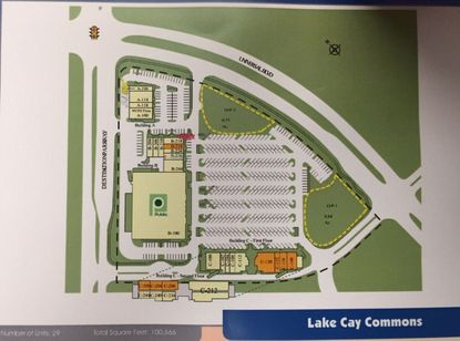 Promotional materials for Lake Cay Commons Plaza, which highlight two new potential outparcels (in yellow) that front Universal Boulevard.