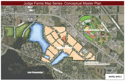A conceputal plan for the Judge Farms property shows a possible hotel site near the main entrance.