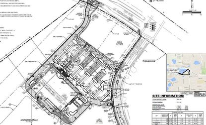 A previous site plan for a grocery store in Apopka at the corner of S.R. 436 and Balmy Beach Drive. The store is now believed to be a Walmart Neighborhood Market, with an affiliated fuel station on Lot 3 fronting S.R. 436.