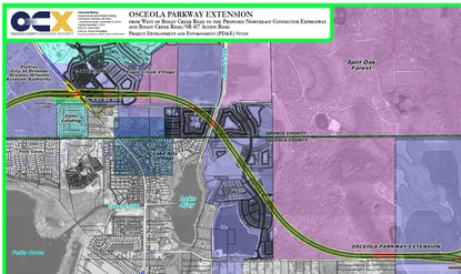 Right of way costs in south Orlando and Southern Oaks planned development could drive the price of the Osceoloa Parkway Extension to $845 million.Right of Way cost: $479 millionConstruction cost: $366 million