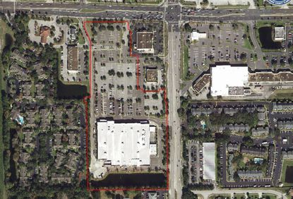 Outlined in red is the Target-owned and anchored shopping center on University Boulevard in N. Goldenrod Road in Winter Park. The new outparcels will be on the north end of the parcel, and the southeast (directly below two existing outparcels).