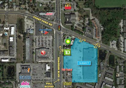 Highlighted in blue is the 9-acre, former Kmart-anchored retail property at the corner of Semoran Boulevard and Curry Ford Road being marketed for redevelopment. It could qualify for the new Targeted Revitalization Site Redevelopment Program.