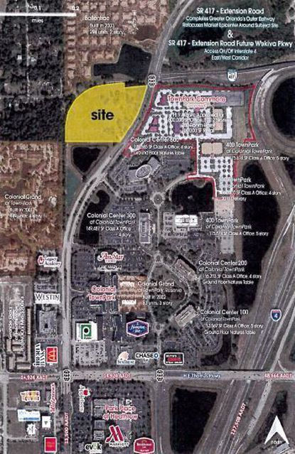 Former hog farm turned prospective project, Allure on the Parkway (in yellow), would help build out of the area in Lake Mary north of Colonial Town Park and south of the ramp that leads to S.R. 417.